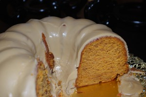 Picture of Garnet Yam Cake With Brown Sugar Icing, cut in half