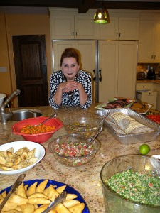 Picture of Linda and food for Sukkot Party