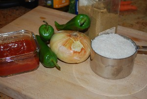 Picture of Ingredients for Rice with Tomato and Onions aka Arroz