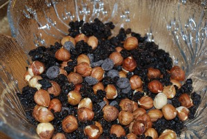 Picture of Ingredients for Hazelnut Biscotti with Chocolate Chips and Currants