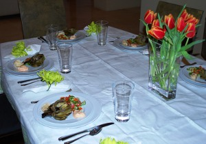 Picture of Table Set for Osso Buco Dinner