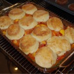 Nectarine and Ginger Cream Biscuit Cobbler